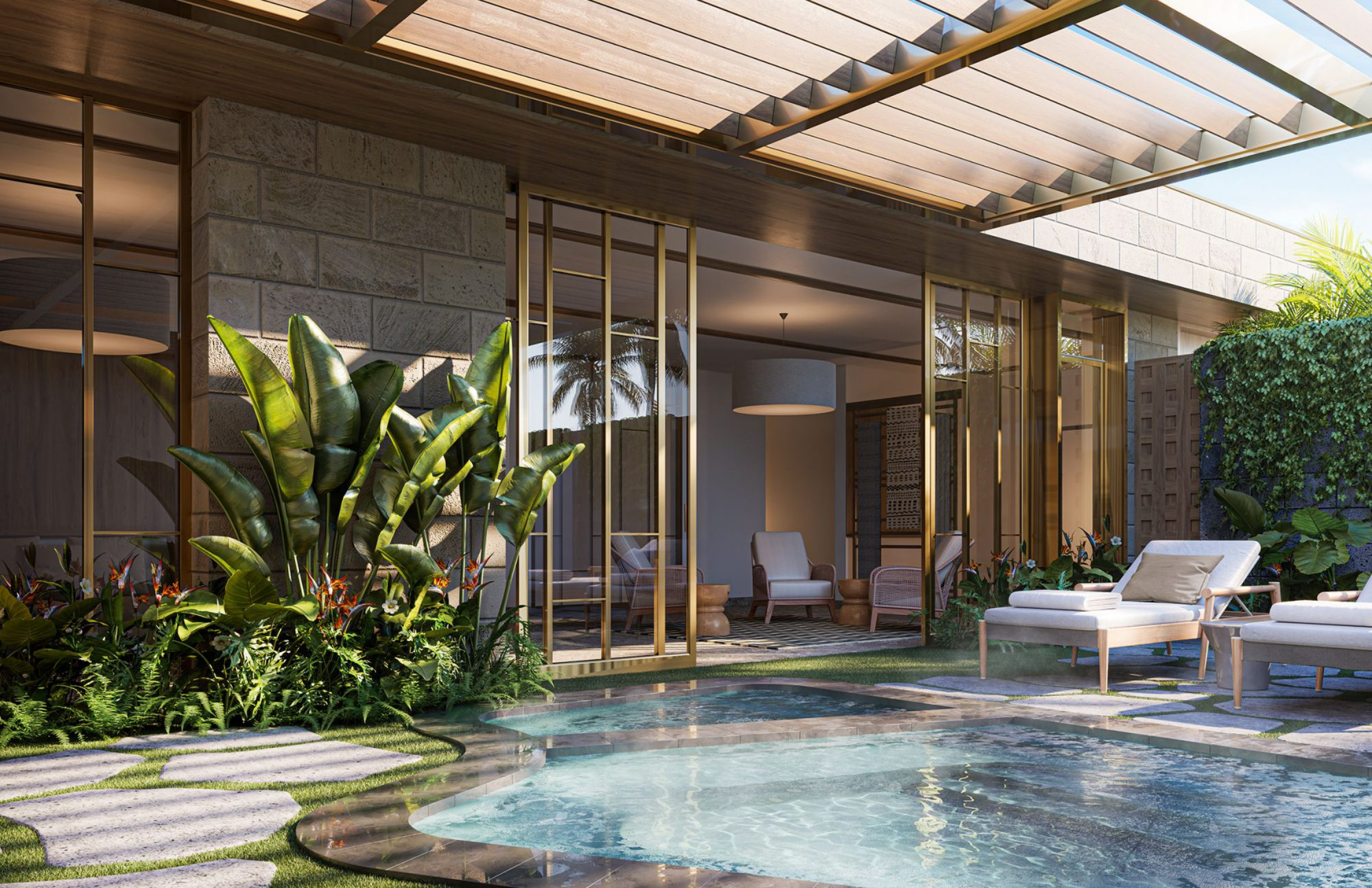 Spa Lounge amenity showing outdoor plunge pool and indoor lounge seating area