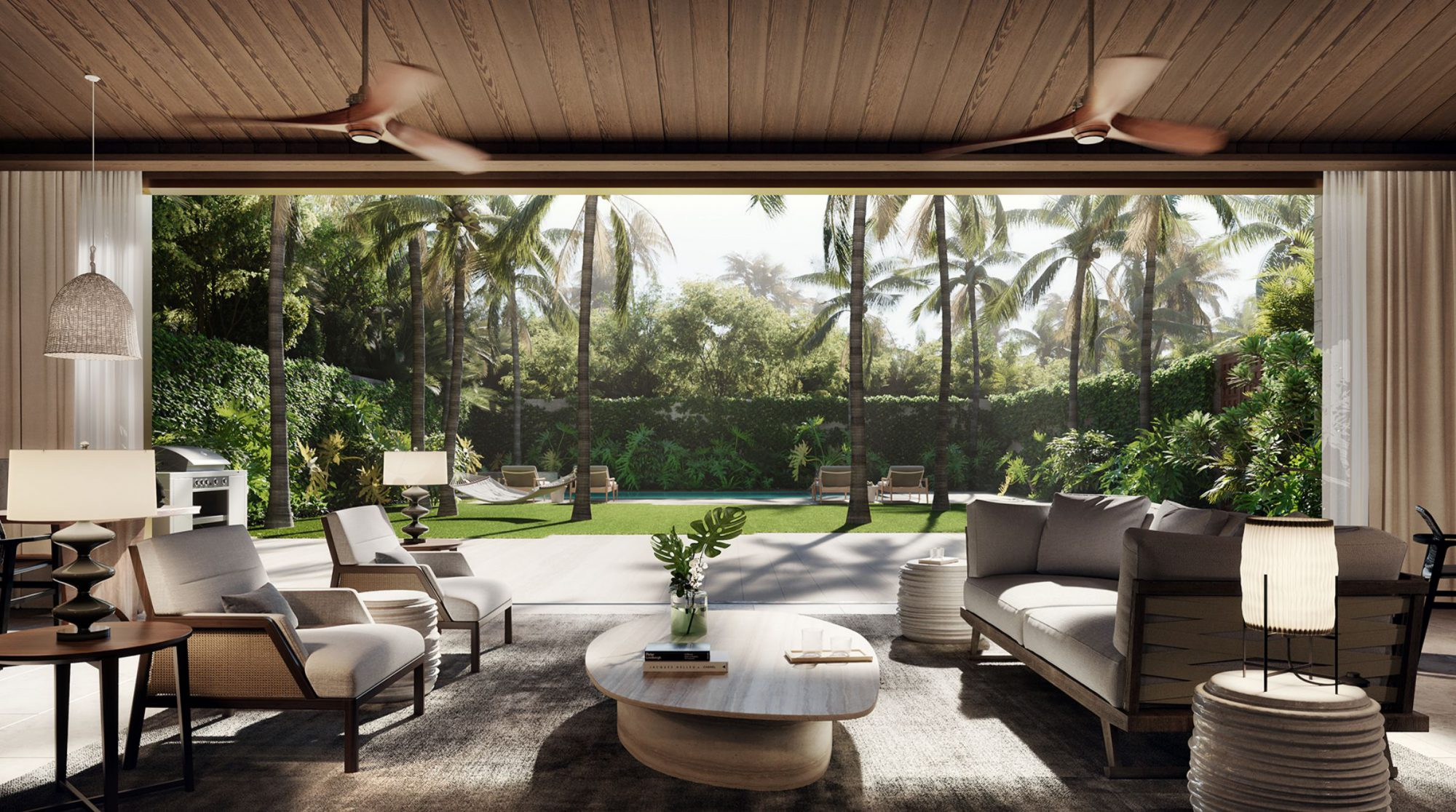 The indoor seating in the Lauhala Pool House amenity space