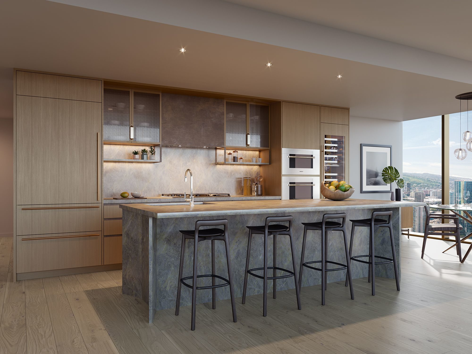Kitchen in light color scheme featuring custom designed island with sophisticated fixtures and finishes