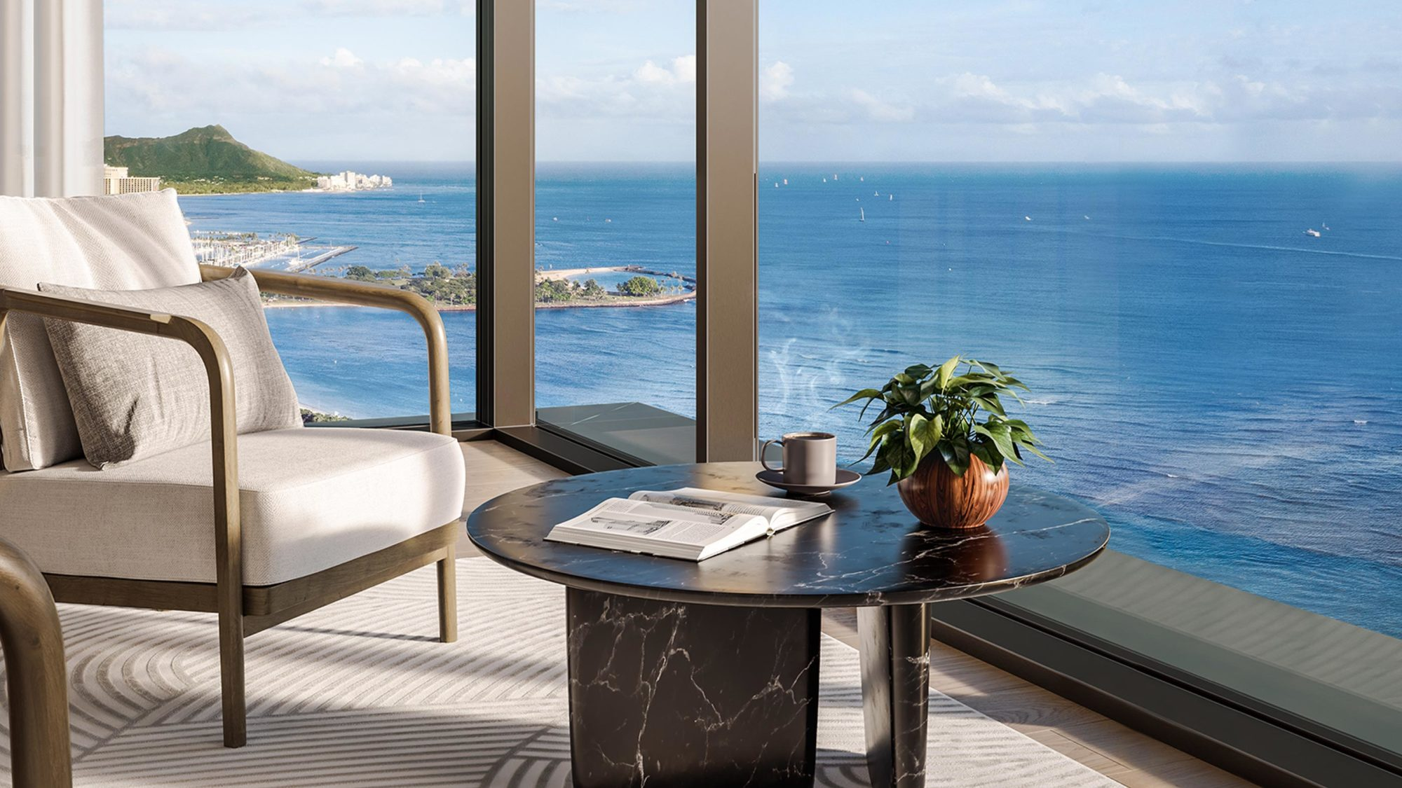 The corner area of a Victoria Place living room showing floor-to-ceiling windows overlooking the Pacific Ocean and Diamond Head.